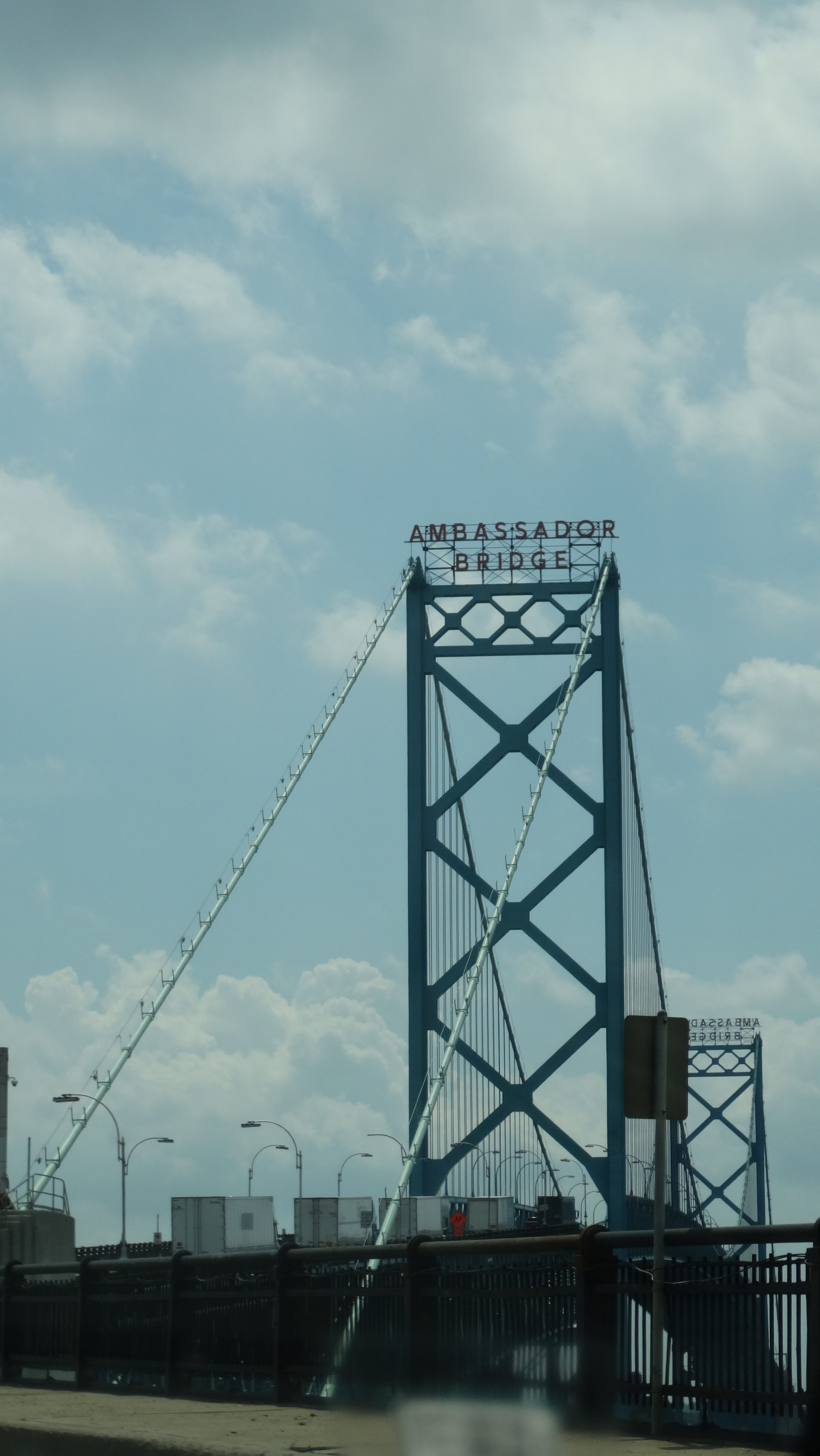 Trucks line up on the Ambassador Bridge to cross from Detroit into Canada.