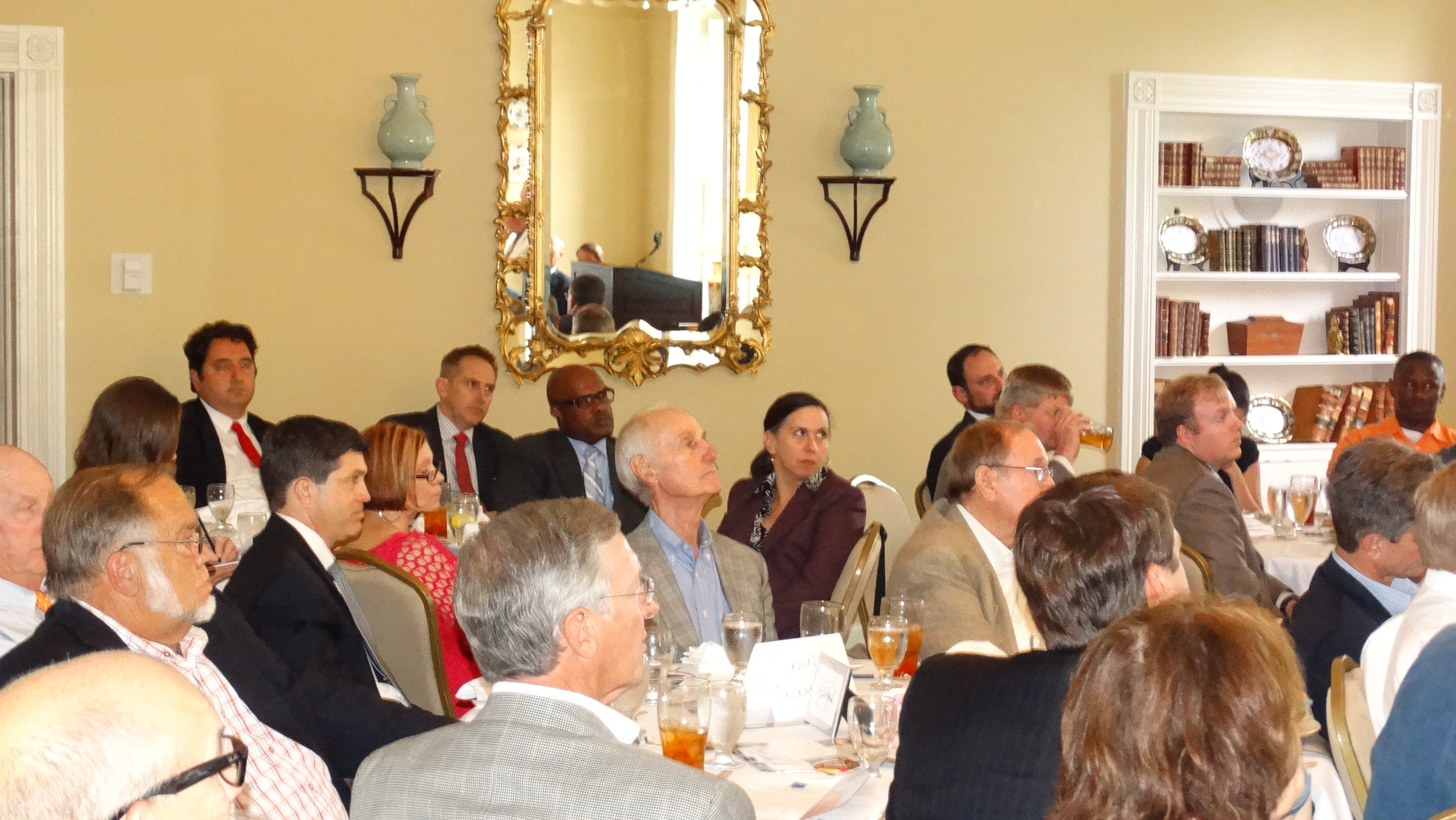 ATtendees listen intently to speaker Dr. Ben Scafidi at  the Foundation's 2014 Friedman Legacy for Freedom Event in Macon on Thursday