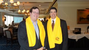 "Georgia State Senator Josh McKoon and Foundation President Kelly McCutchen wear their National School Choice Week ""woobie"" at the Foundation's annual event on January 21."