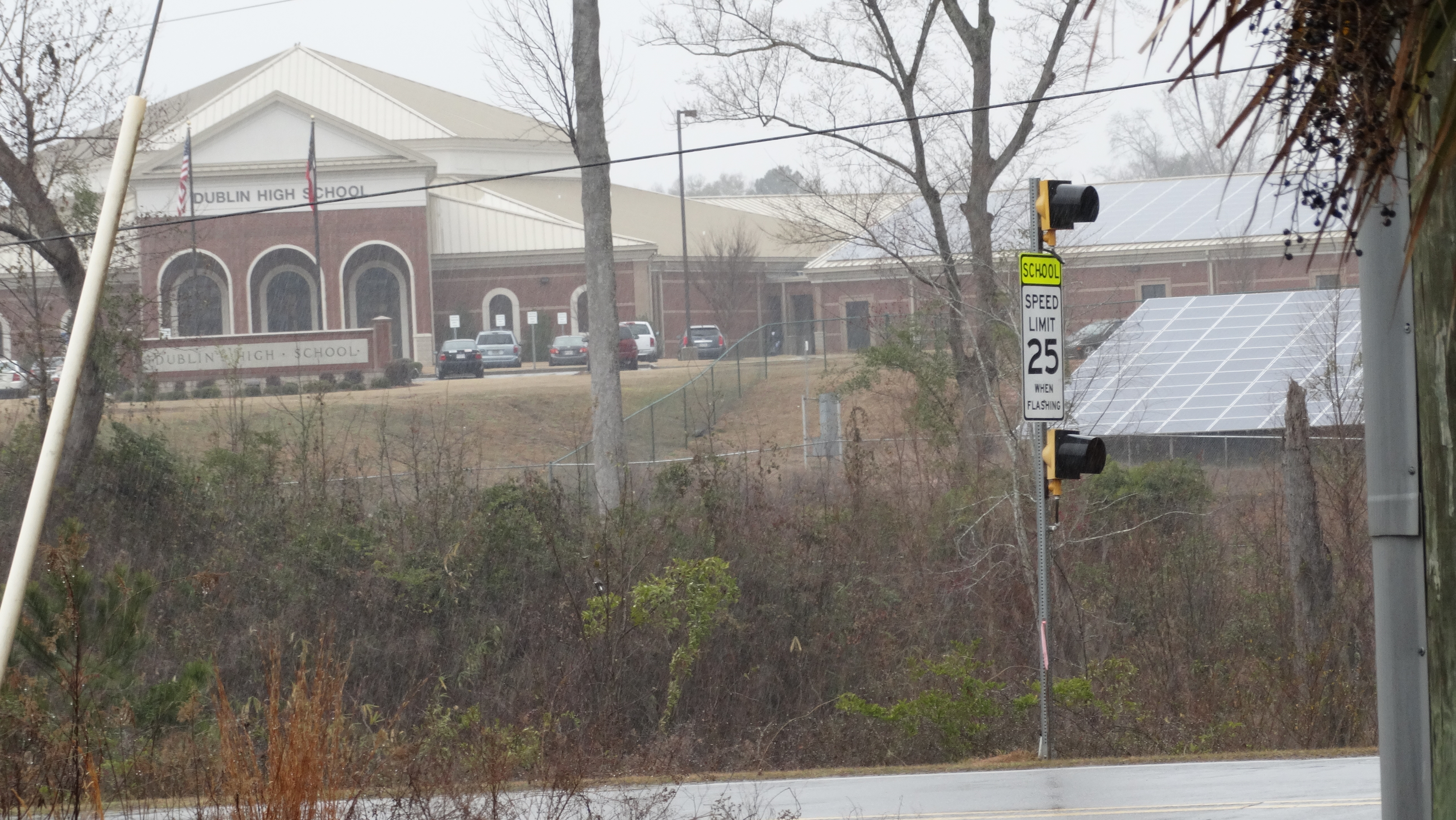 Mage's solar panels, installed in 2013, have pride of place in front of Dublin High School in Laurens County.