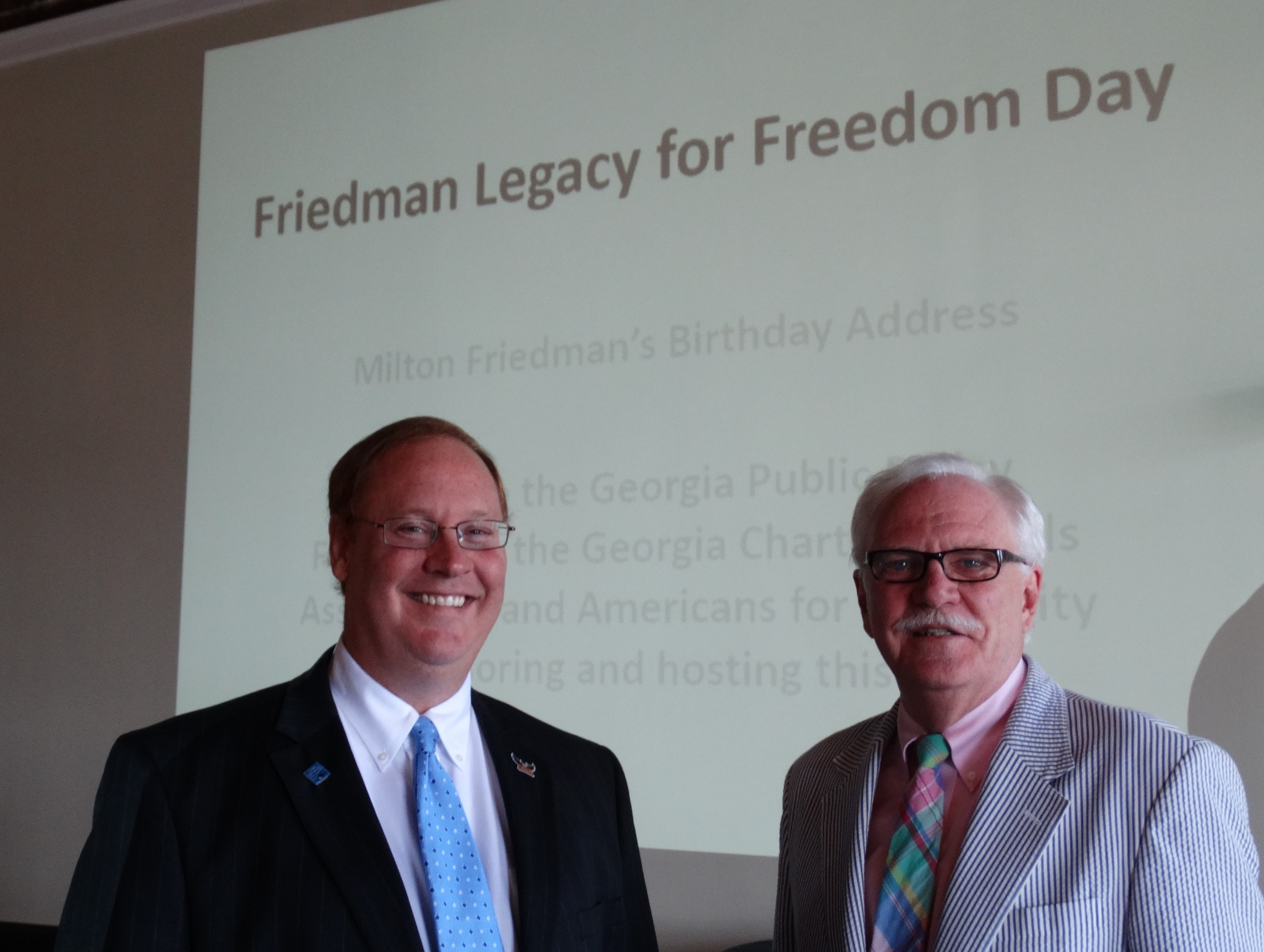 Keynote speaker Dr. Ben Scafidi catches up with John McRae, an attendee at the Georgia Public Policy Foundation Friedman Legacy for Freedom Day in Savannah on July 29.