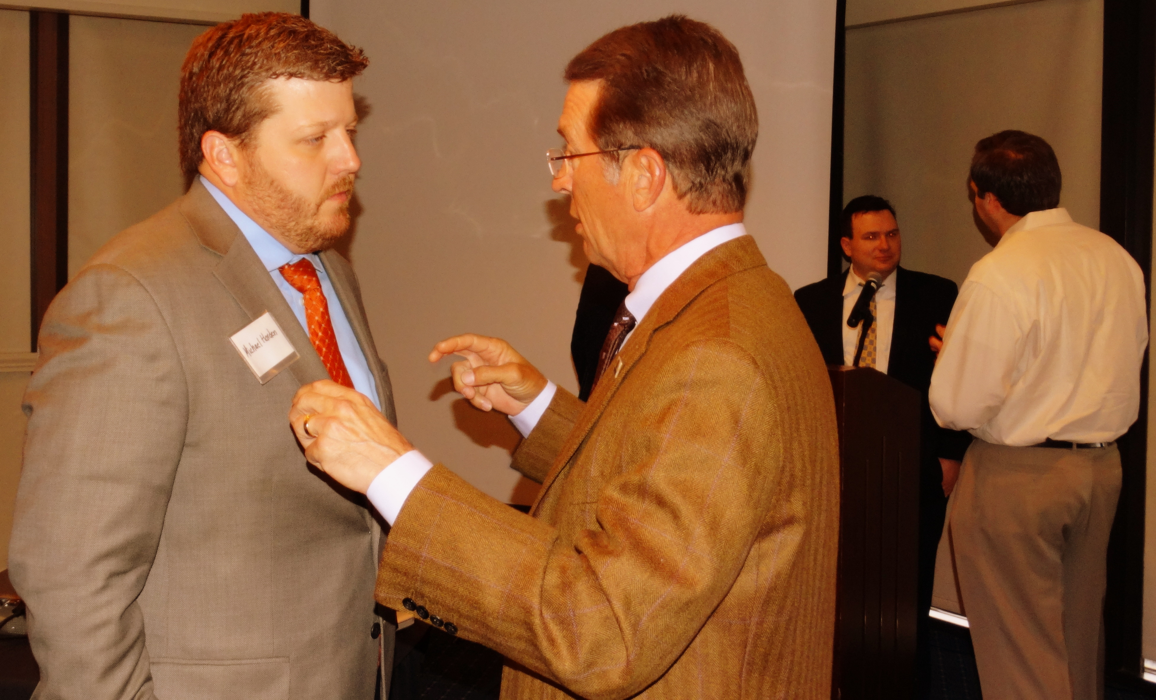 Michael Harden of Americans for Prosperity Georgia (left) chats with Jim Stephenson of Yancey Bros; behind them, Reason Foundation transportation analyst Baruch Feigenbaum chats with an attendee at the Foundation's February 18 Leadership Breakfast. Find more photographs of the event at www.facebook.com/georgiapolicy.