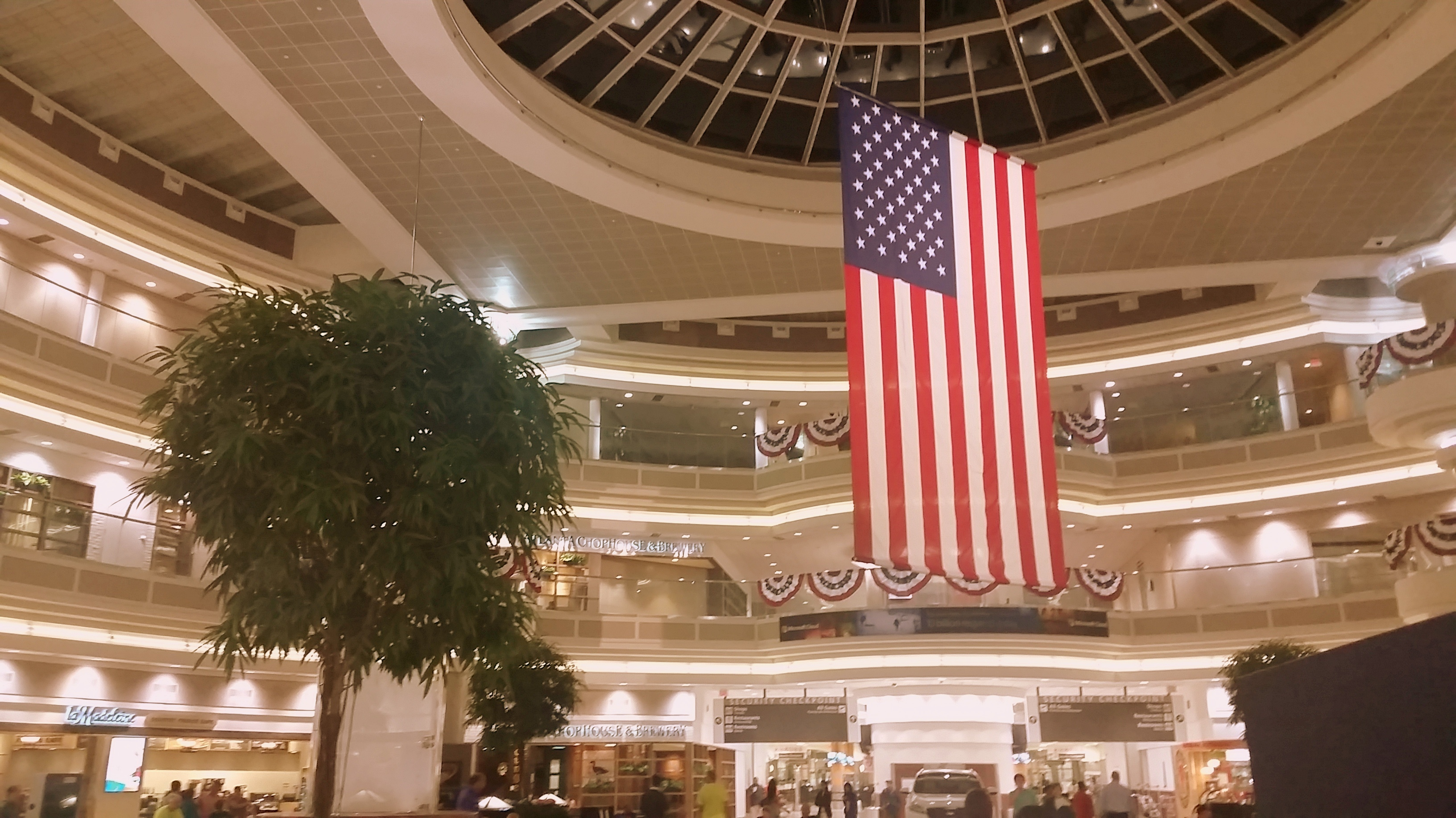The atrium at Hartsfield-Jackson International Airport in Atlanta was all decked out this week in preparation for  Independence Day