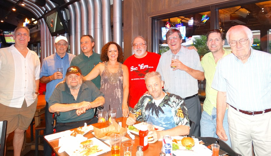 Former colleagues of The Atlanta Journal (from before its merger with the Constitution) catch up at our annual reunion in 2013; our friend Frank Hyland is third from the right.