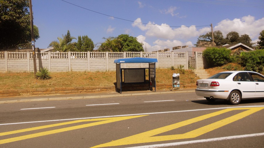 The bus stop in Durban, South Africa, where Benita Dodd waited every day.