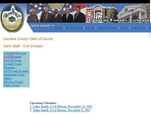 This screen shot shows that Laurens County's court Web site for the public still shows a calendar more than 7 years old.