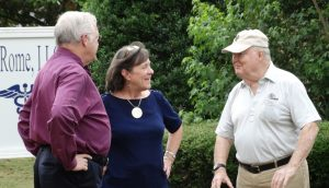 "Foundation Board Member Frank Barron of Rome, Ga., chats with Dr. Leonard Reeves and Barbara Earle of Rome's Faith and Deeds Community Health Free Clinic. See this weeks commentary, ""Rome's Free Clinic: Community Taking Charge."""