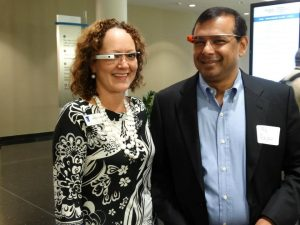 Benita Dodd and Raj Rajan test out Google Glass at the Foundation's 2013 Georgia Digital Technology Forum.