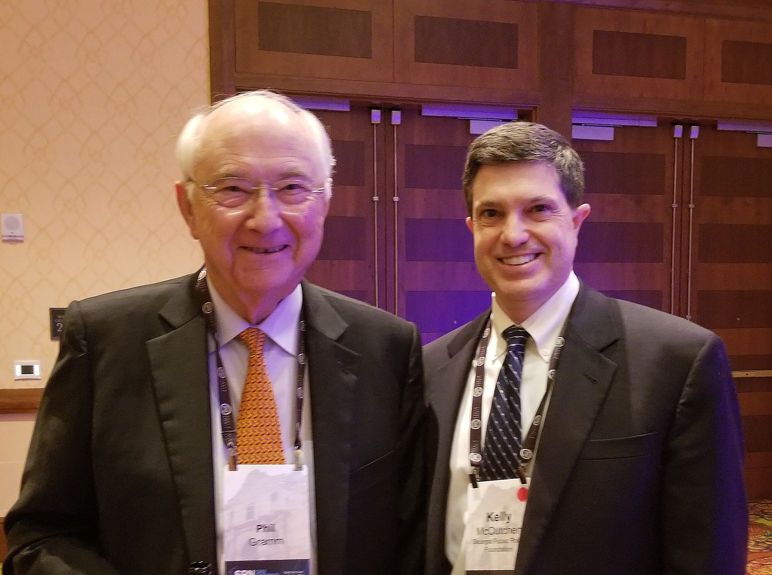 Georgia native and former Senator Phil Gramm and Foundation President Kelly McCutchen reminisced at the Right on Crime dinner during the State Policy Network annual conference in San Antonio, Texas. Gramm is a recipient of the Foundation's Freedom Award; his wife, Wendy, is board chairman of the Texas Public Policy Foundation.