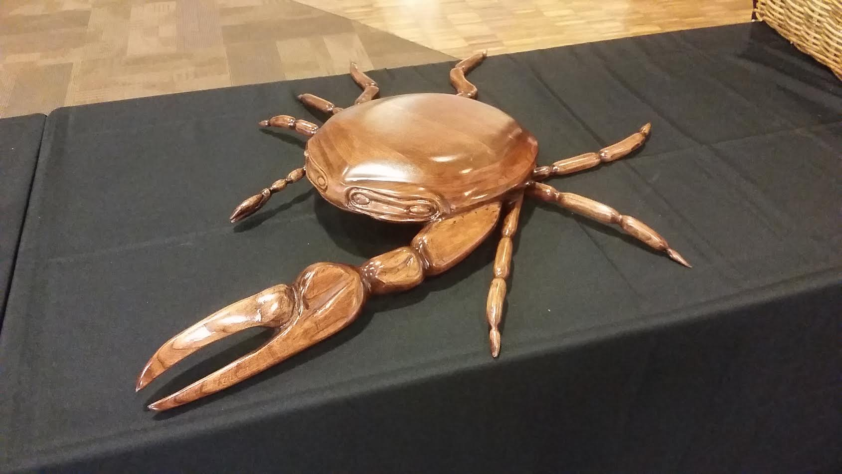 This crab, carved out of salvaged wood by an inmate at Ware State Prison in Waycross, Ga., won first prize at an exhibition of prisoners' at Sloppy Floyd Towers that was judged this week by Governor Nathan Deal.
