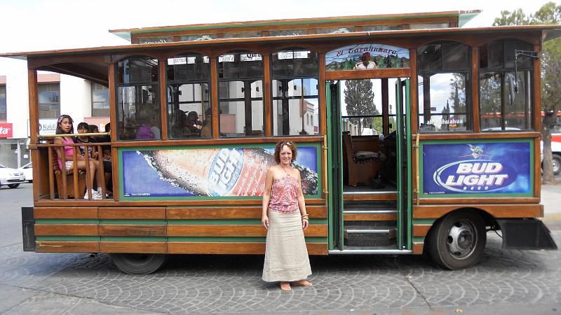 Benita Dodd takes advantage of the local public transportation in Delicias, Mexico.