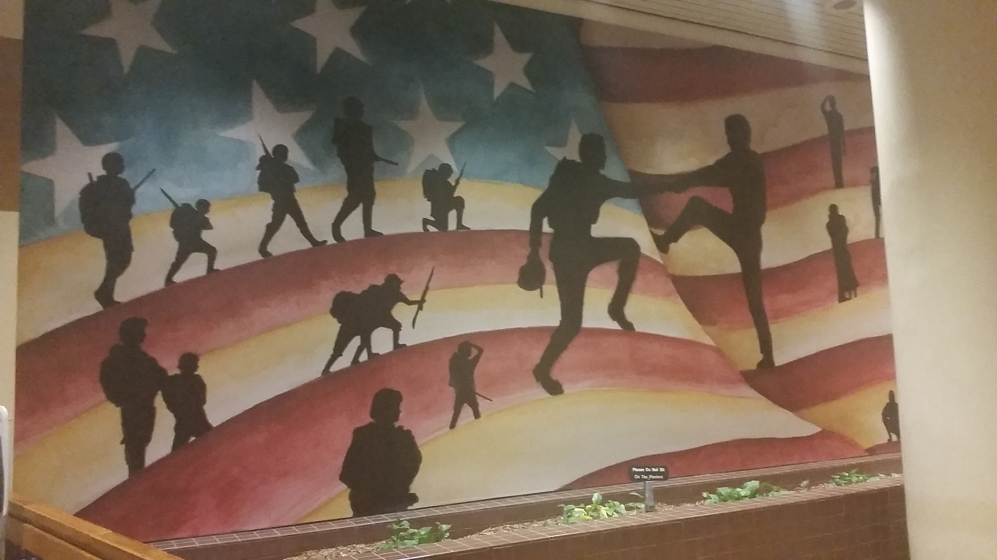 "Benita Dodd photographed this mural, which honors Georgia's citizen soldiers, while visiting the James ""Sloppy"" Floyd Veterans Memorial Building this week."
