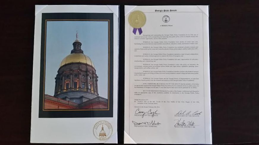 The Georgia State Senate passed a resolution commending the Foundation for 25 years of service to Georgia.