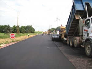 New asphalt on road.