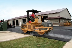 New asphalt for commercial parking lot.