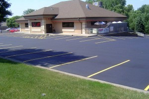 New asphalt parking lot.