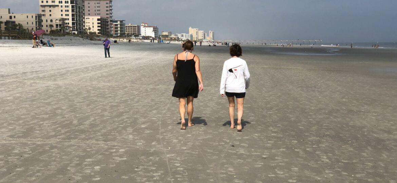 Cool walk on the beach
