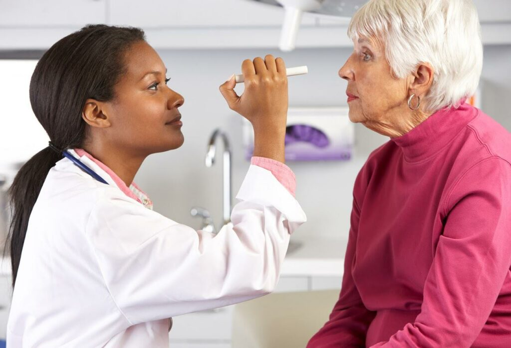 Doctor Looking at Patient's eyes