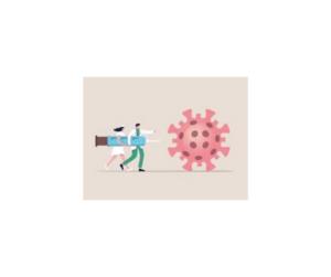 cartoon of medical provider with syringe innoculating covid molecule