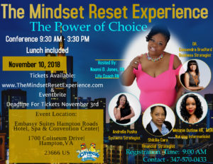 The Mindset Reset Experience | Naomi D. Jones | Registered Nurse | Mindset | Life Coach | Event | Hampton, VA