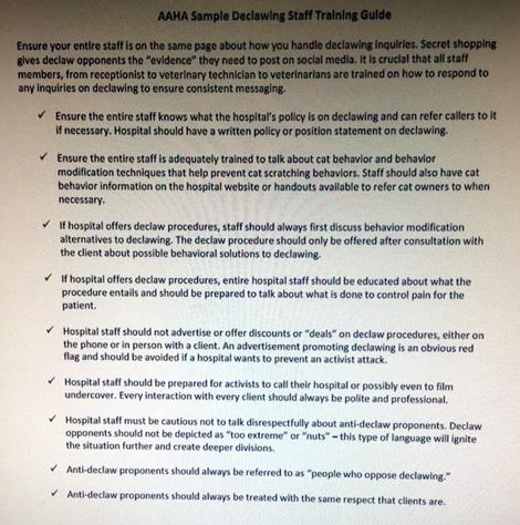 AAHA Declawing Tips