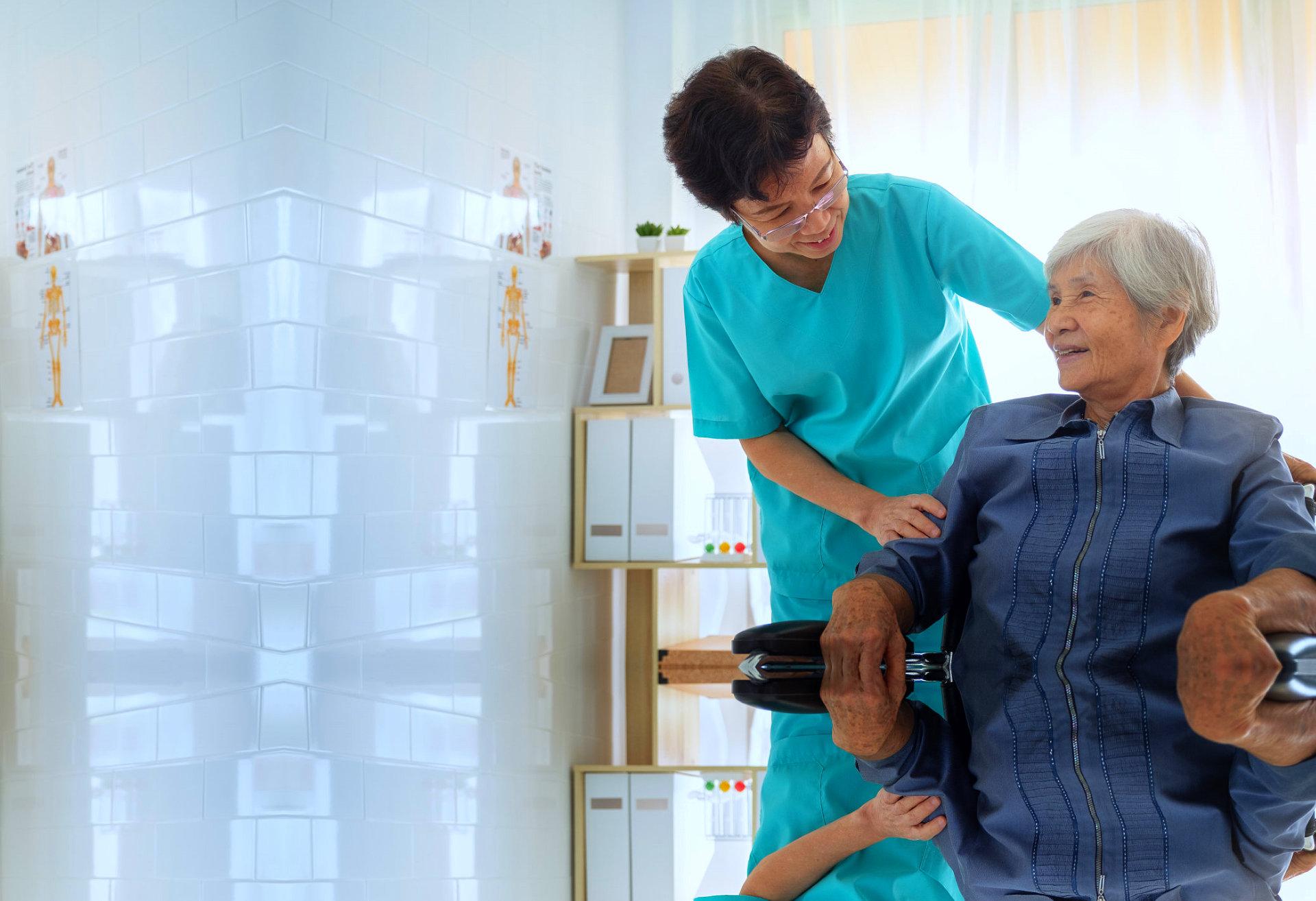 caregiver taking care a patient