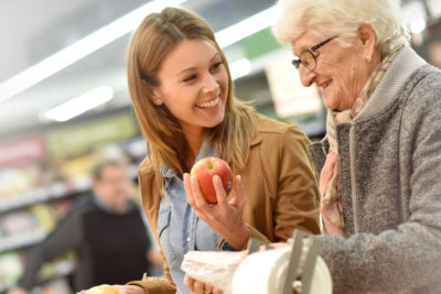 adult woman and senior woman shopping