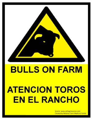 Bulls On Farm Warning