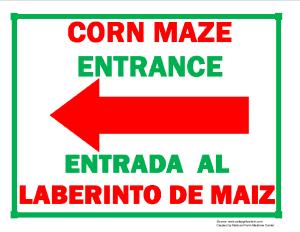Corn Maze Entrance (Left Arrow) Sign