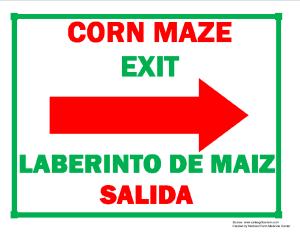 Corn Maze Exit (Right Arrow) Sign