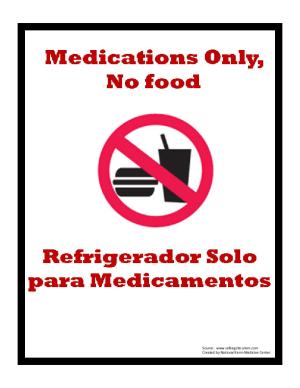 Medications Only Refridgerator Sign