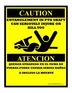 PTO Entanglement Hazard Sign