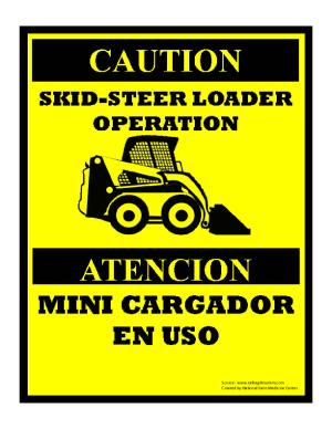 Skid Steer Loader Operation Sign