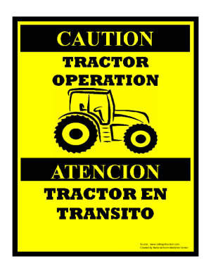 Tractor Operation Sign