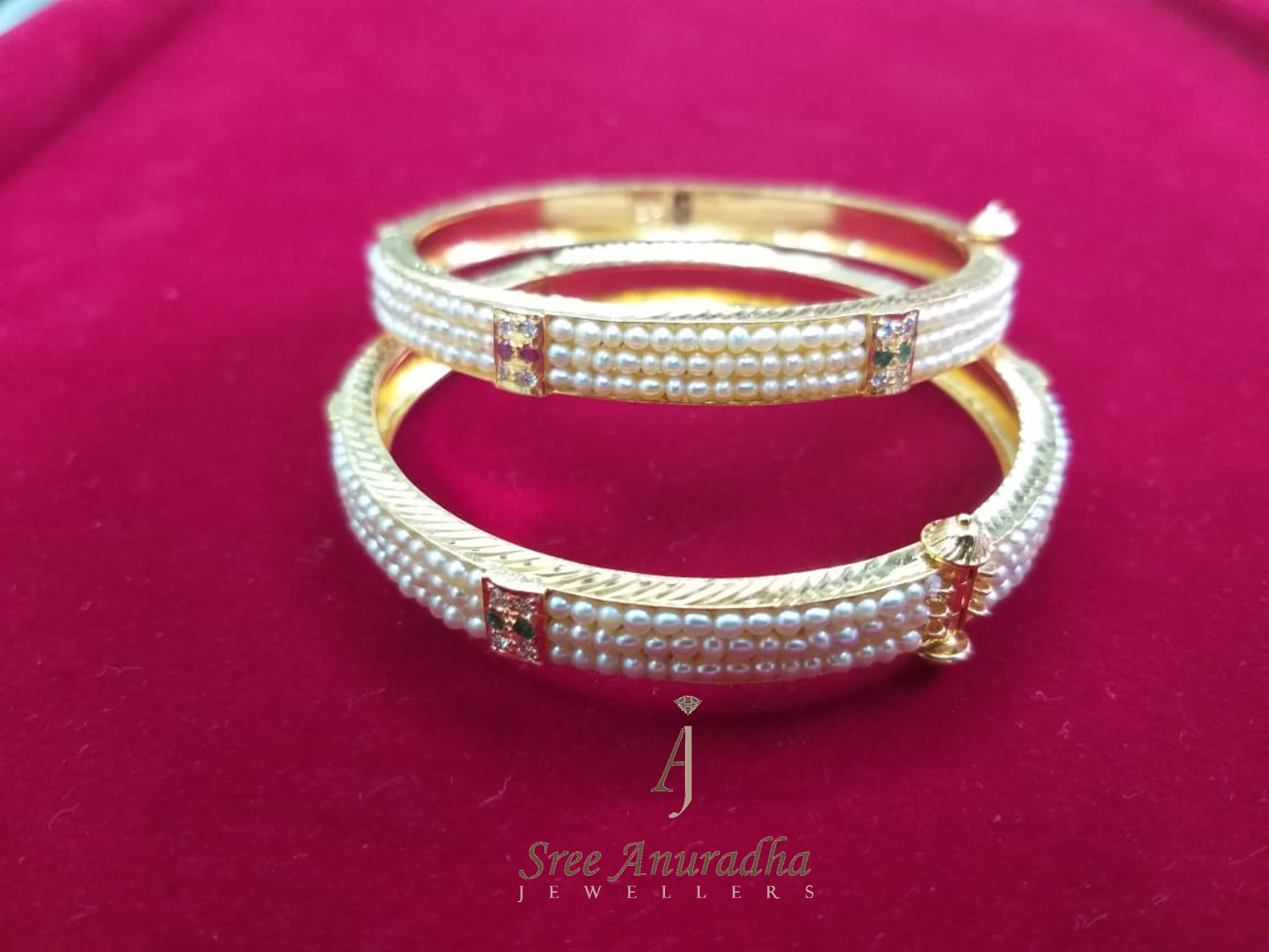 Pearl's, Diamonds, Ruby N Emerald bangles
