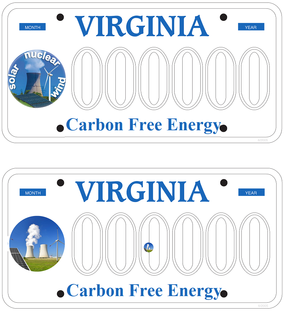 Carbon Free VA License Plate Examples