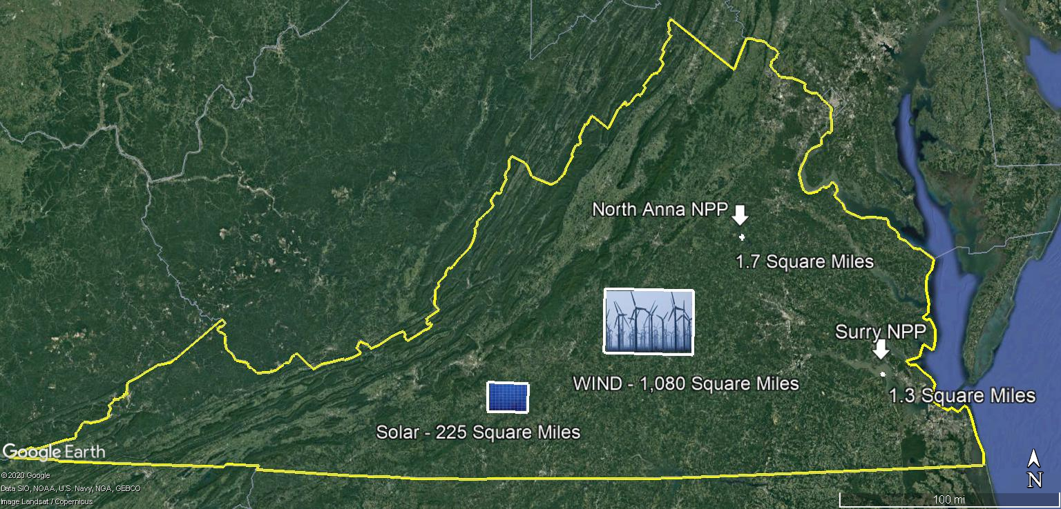 Wind & Solar size as compred to Surry & North Anna Combined 4-12-2020
