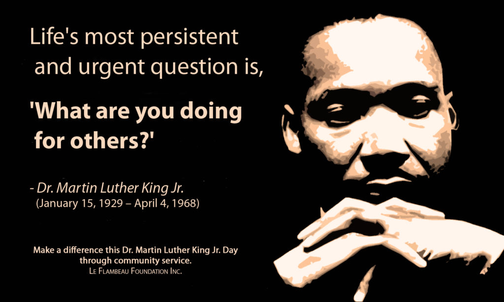 MLK Day service statement from Le Flambeau Foundation