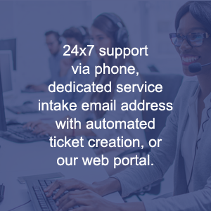 24x7 support via phone, dedicated service intake email address with automated ticket creation, or our web portal.
