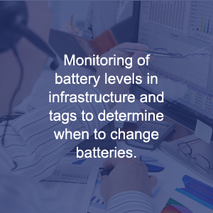 Monitoring Of Battery Levels In Infrastructure And Tags To Determine When To Change Batteries.