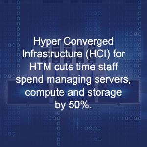 Hyper Converged Infrastructure (HCI) for HTM cuts time staff spend managing servers, compute and storage by 50%.