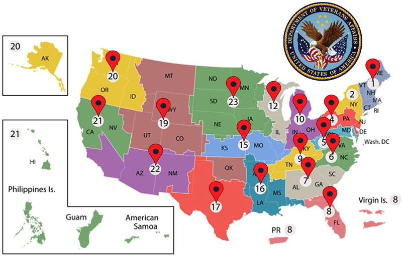 map displaying VA medical centers across the country that SCI has been delivering next generation clinical HTM solutions to since 2004