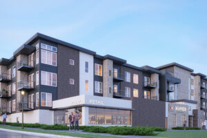 Exterior rendering of Maven Apartments
