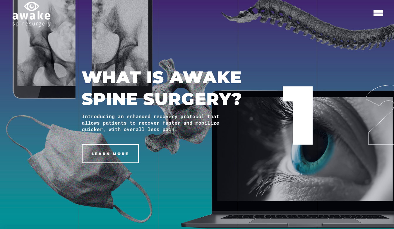 home page of awake spinal fusion academy a client of feed. the agency