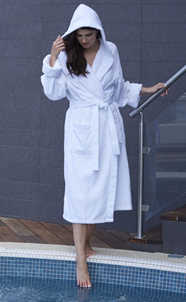 HOODED TERRY VELOUR robe