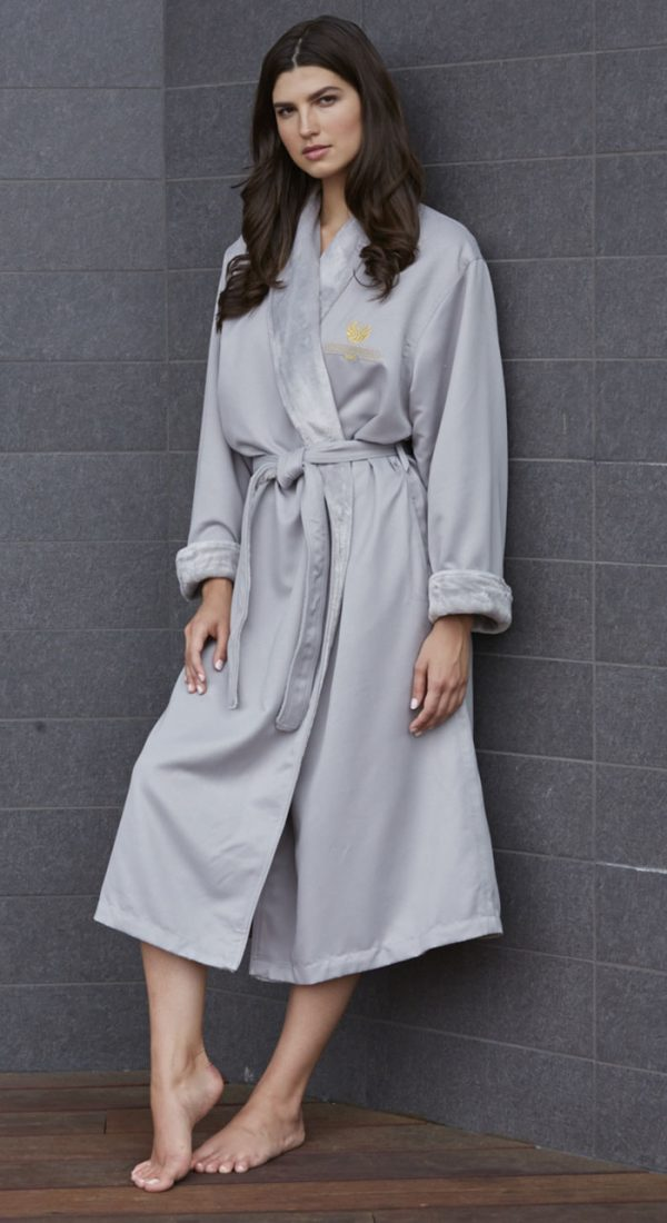 MICROFIBER SHIMMER LINED ROBE DOVE GREY