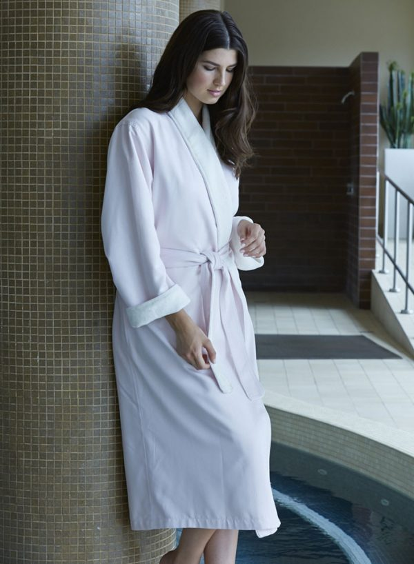 MICROFIBER SHIMMER LINED ROBE PINK