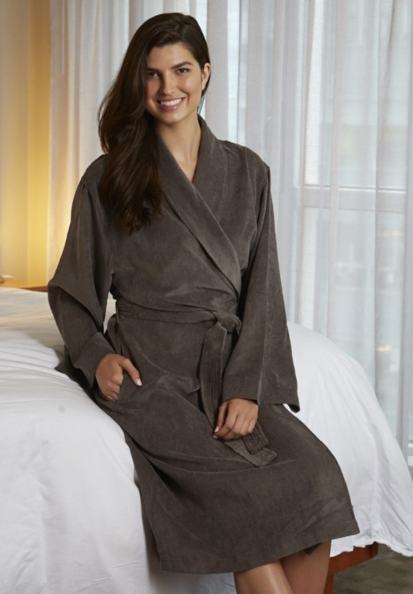 CHOCOLATE DIAMOND MICROFIBER SHAWL COLLAR ROBE