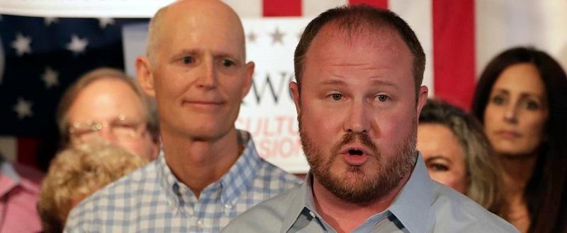 Matt Caldwell and Rick Scott, September 2018. Miami Herald photo.