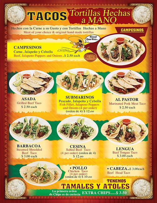 Tacos Madrigal Menu 2016 Page 2